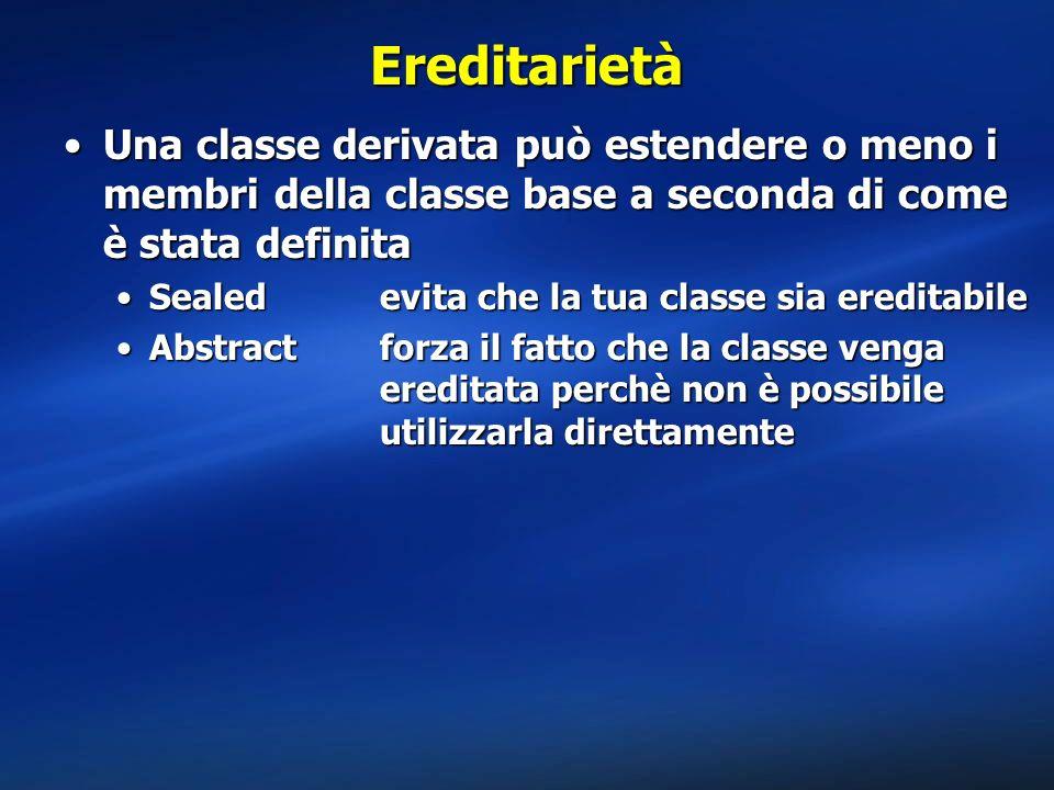 Ereditarietà Una classe derivata può estendere o meno i membri della classe base a seconda di come è stata definita.