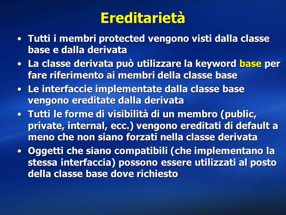 Ereditarietà Tutti i membri protected vengono visti dalla classe base e dalla derivata.