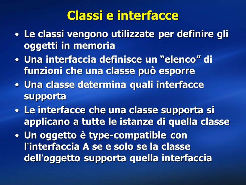 Classi e interfacce Le classi vengono utilizzate per definire gli oggetti in memoria.