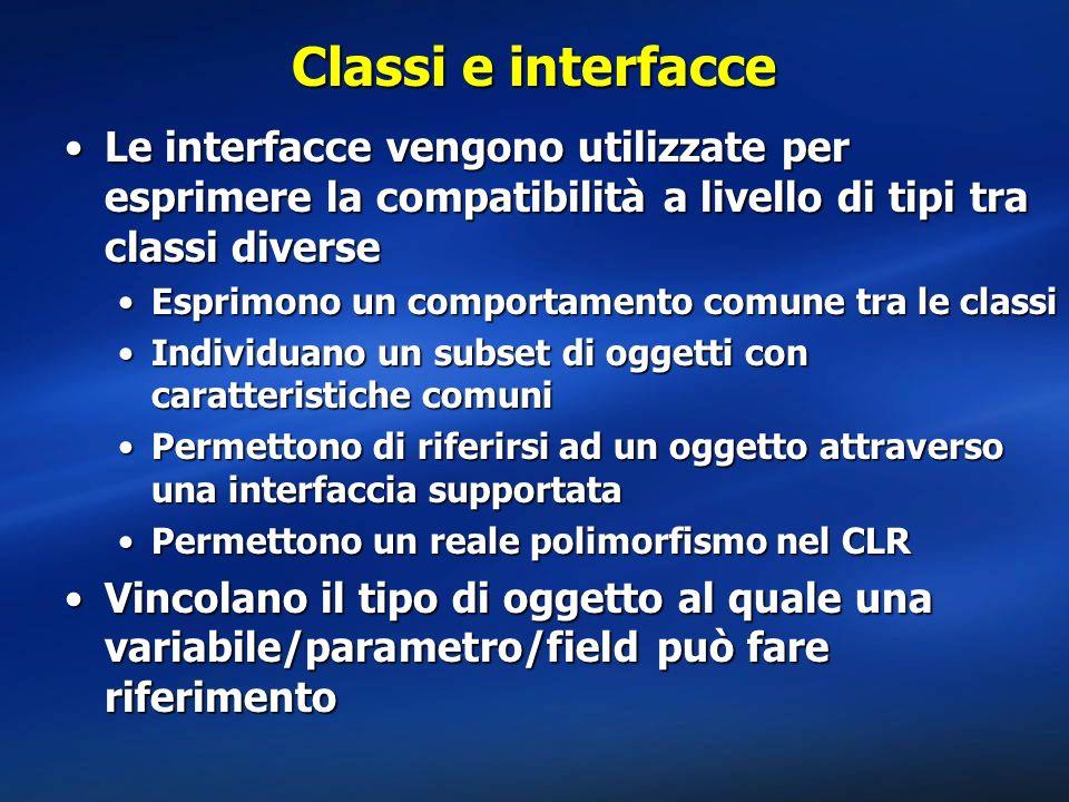 Classi e interfacce Le interfacce vengono utilizzate per esprimere la compatibilità a livello di tipi tra classi diverse.
