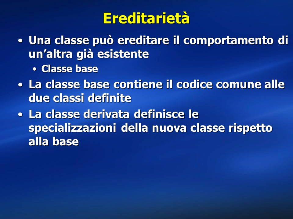 Ereditarietà Una classe può ereditare il comportamento di un'altra già esistente. Classe base.