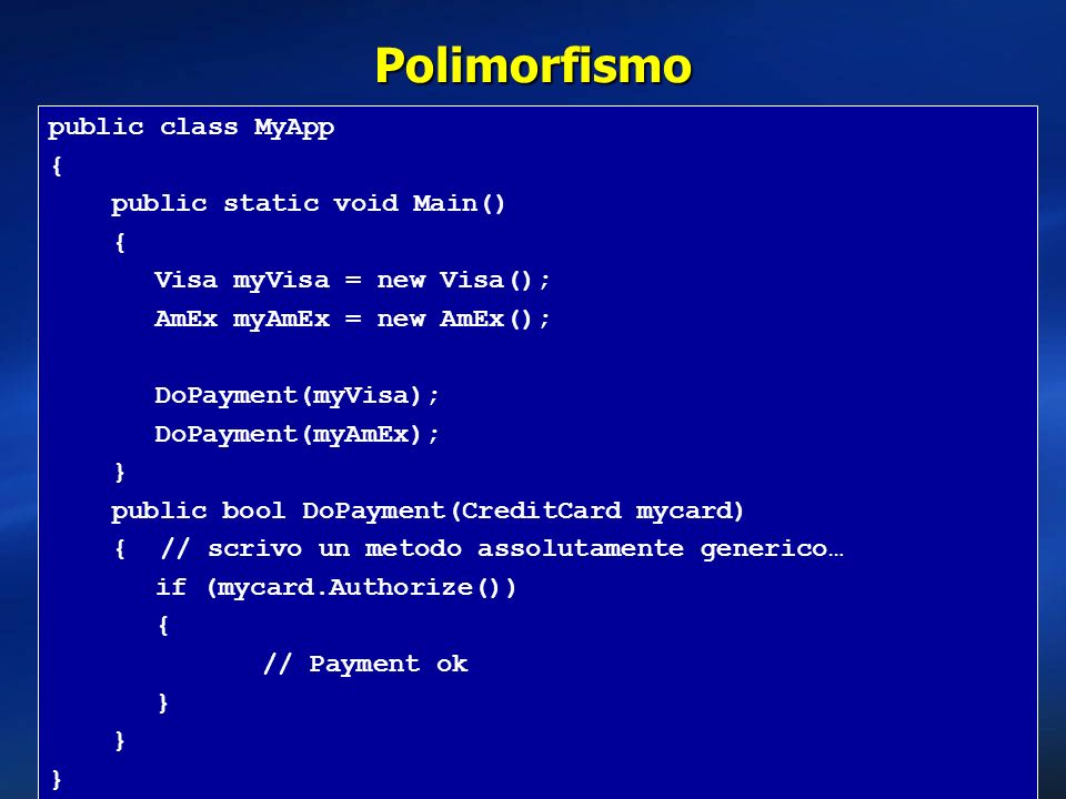 Polimorfismo public class MyApp { public static void Main()