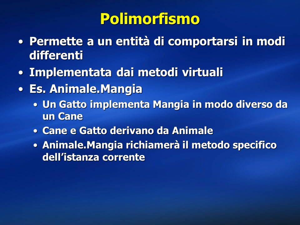 Polimorfismo Permette a un entità di comportarsi in modi differenti