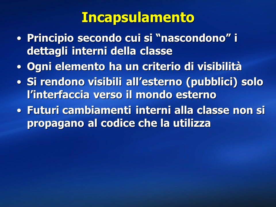 Incapsulamento Principio secondo cui si nascondono i dettagli interni della classe. Ogni elemento ha un criterio di visibilità.