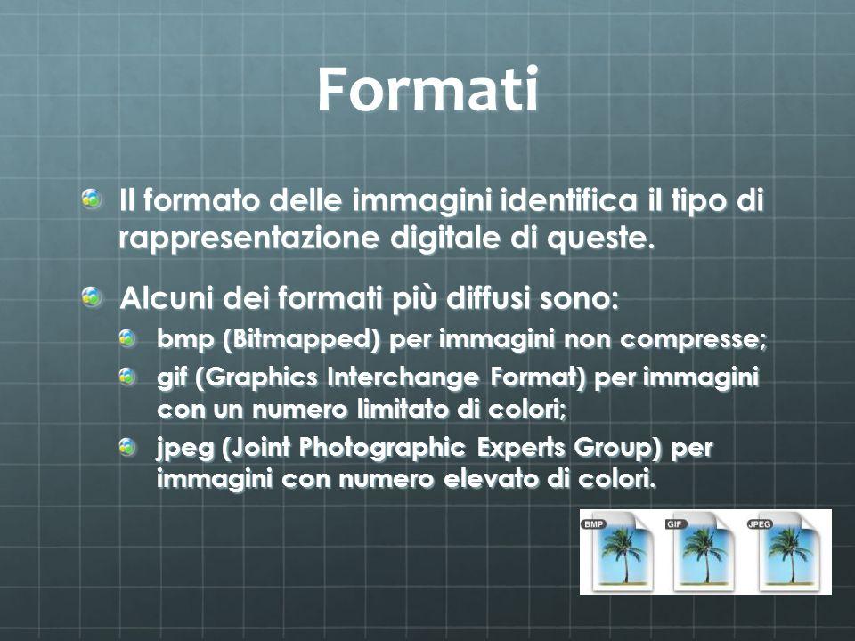 Formati Il formato delle immagini identifica il tipo di rappresentazione digitale di queste. Alcuni dei formati più diffusi sono: