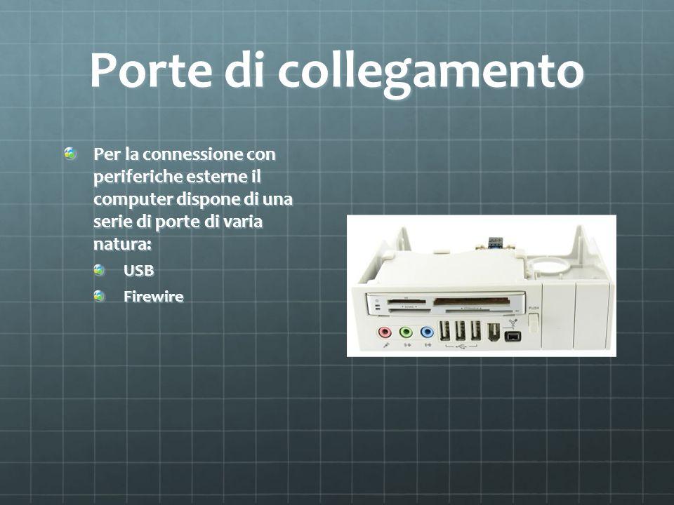 Porte di collegamento Per la connessione con periferiche esterne il computer dispone di una serie di porte di varia natura: