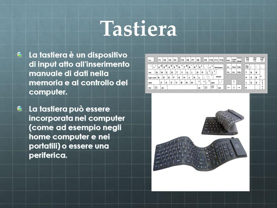 Tastiera La tastiera è un dispositivo di input atto all inserimento manuale di dati nella memoria e al controllo del computer.
