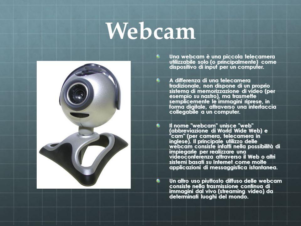 Webcam Una webcam è una piccola telecamera utilizzabile solo (o principalmente) come dispositivo di input per un computer.