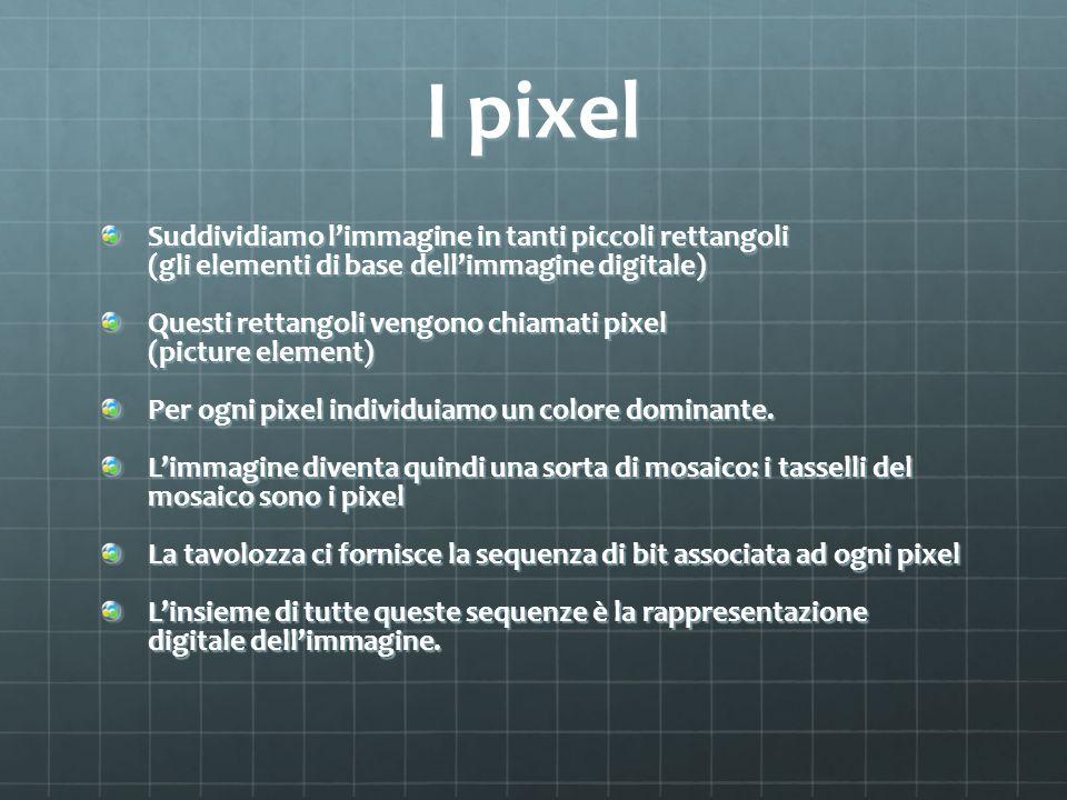 I pixel Suddividiamo l'immagine in tanti piccoli rettangoli (gli elementi di base dell'immagine digitale)
