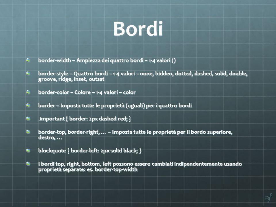 Bordi border-width – Ampiezza dei quattro bordi – 1-4 valori ()
