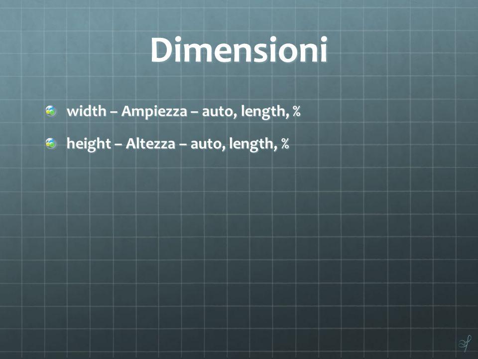 Dimensioni width – Ampiezza – auto, length, %