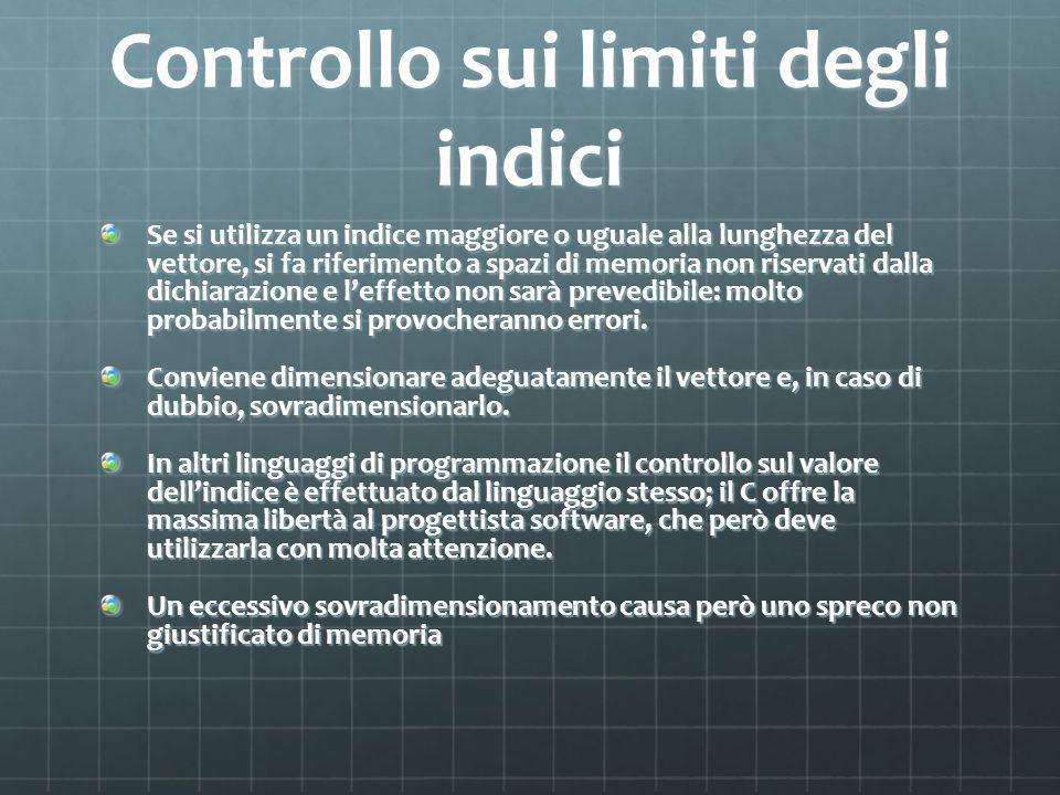Controllo sui limiti degli indici