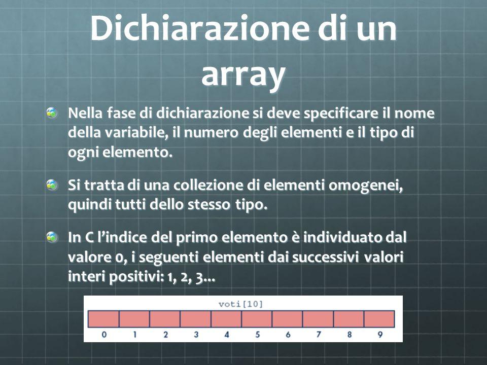 Dichiarazione di un array