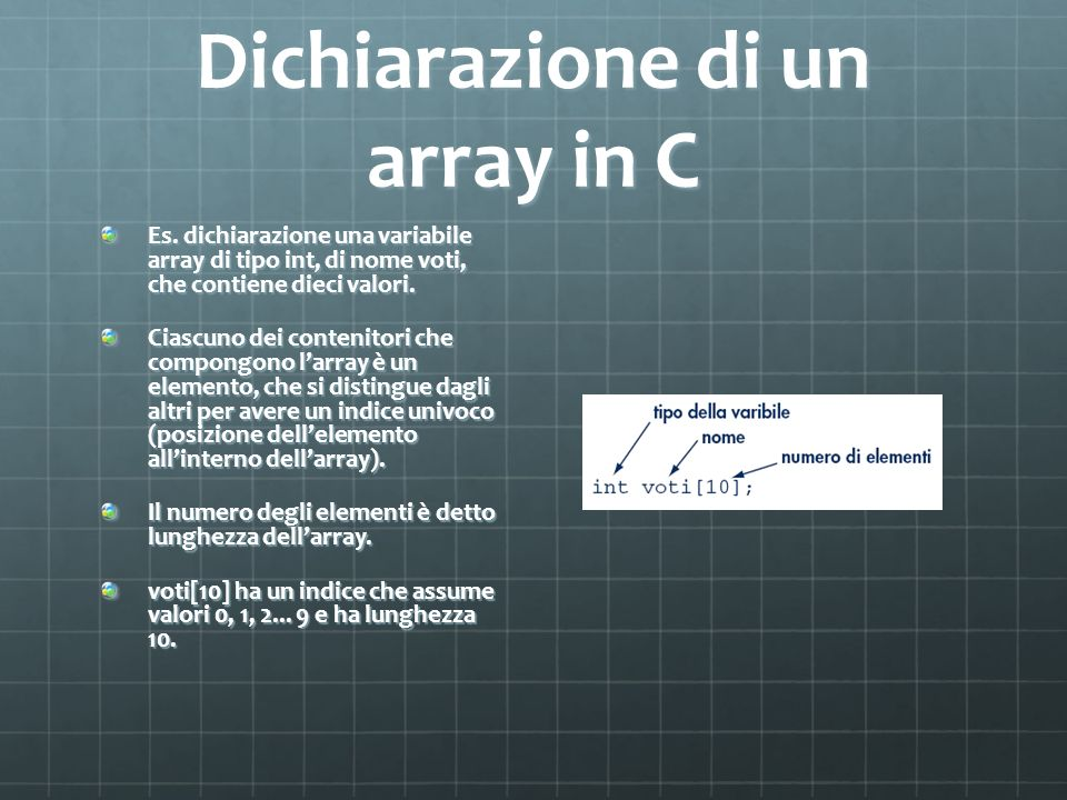Dichiarazione di un array in C