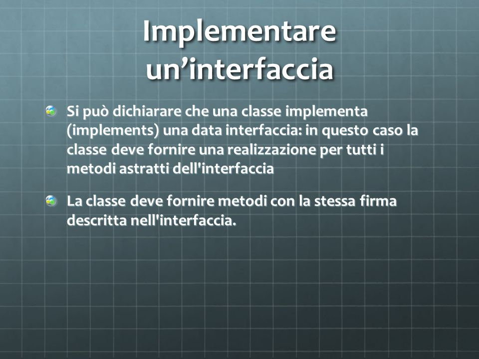 Implementare un'interfaccia