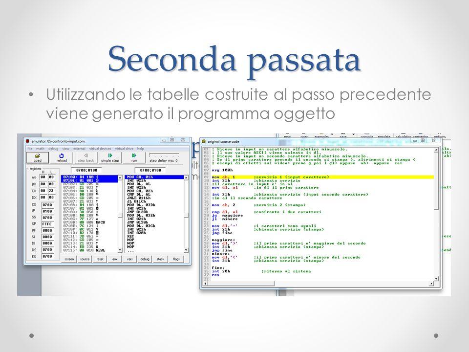 Seconda passata Utilizzando le tabelle costruite al passo precedente viene generato il programma oggetto.