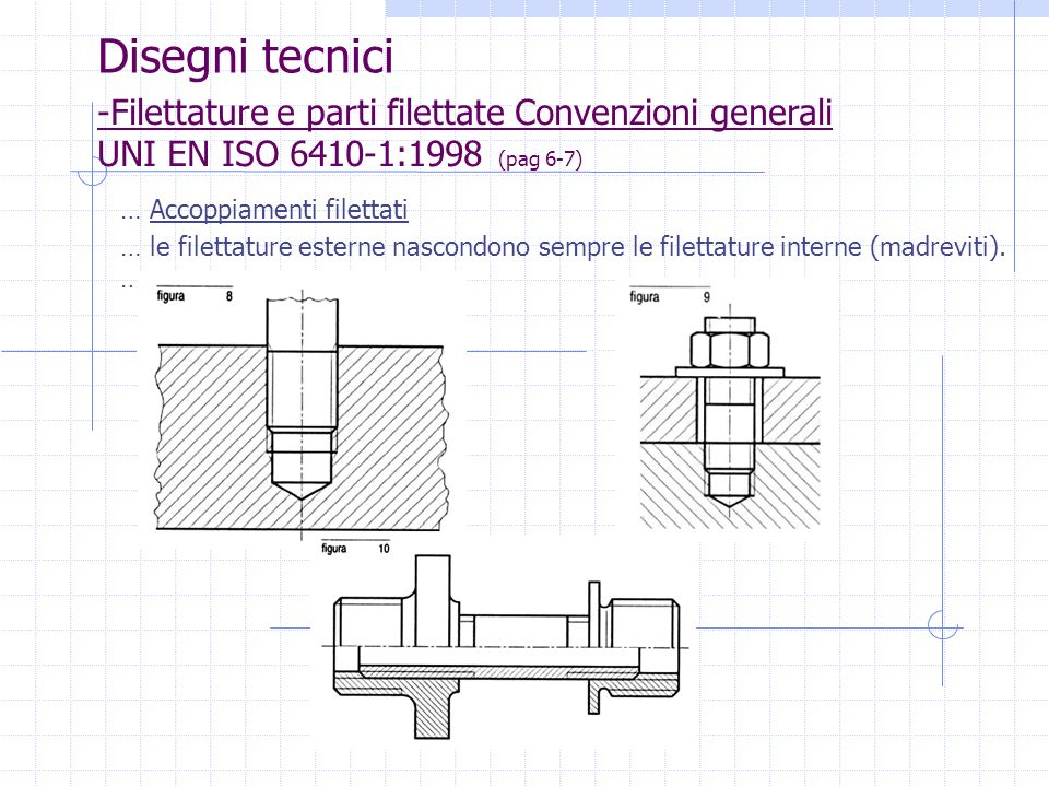 Disegni tecnici-Filettature e parti filettate Convenzioni generali UNI EN ISO 6410-1:1998 (pag 6-7)