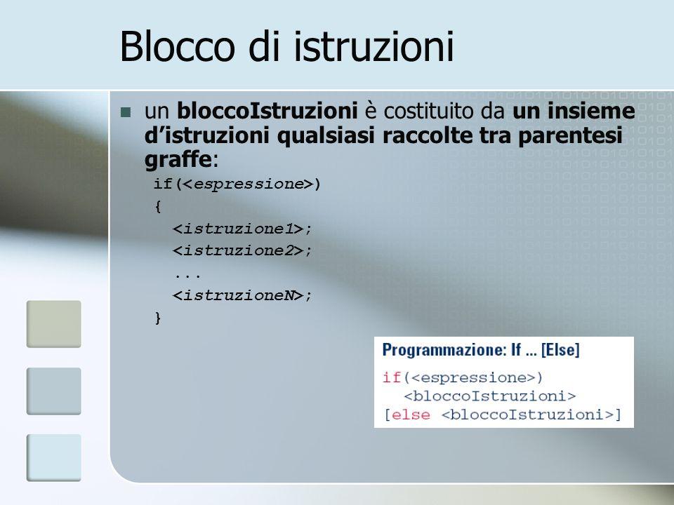 Blocco di istruzioni un bloccoIstruzioni è costituito da un insieme d'istruzioni qualsiasi raccolte tra parentesi graffe: