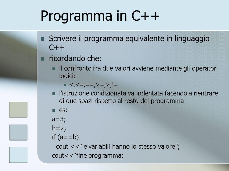 Programma in C++ Scrivere il programma equivalente in linguaggio C++