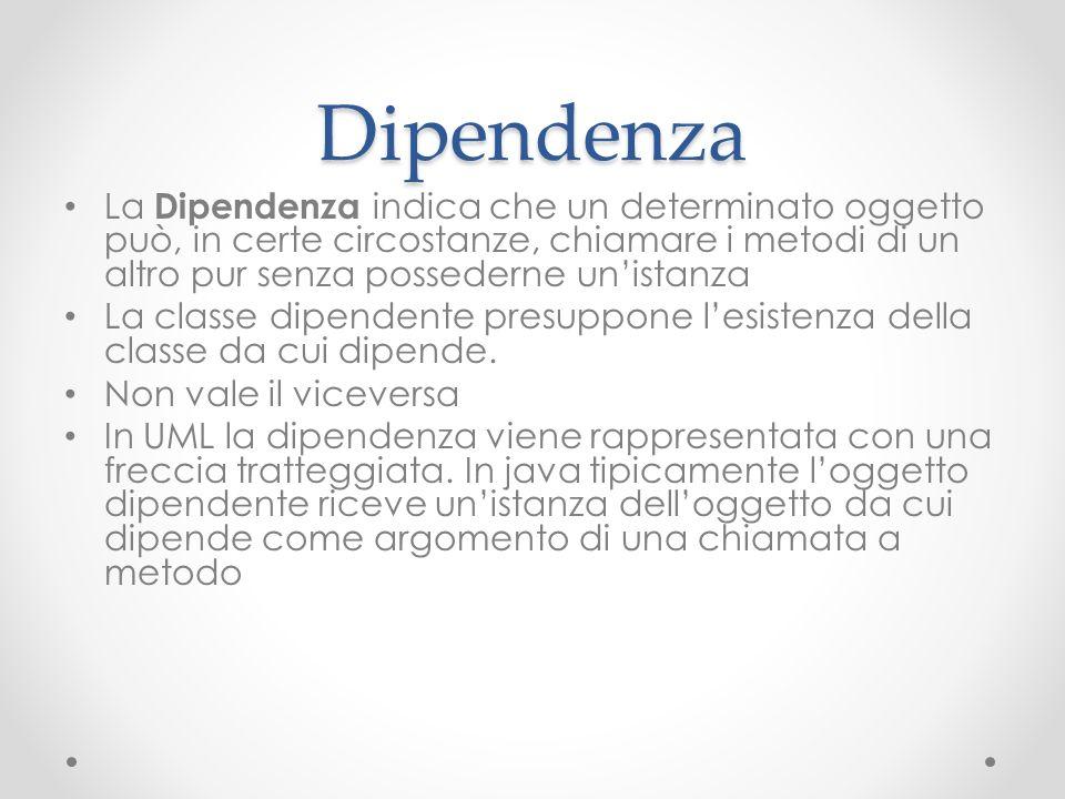 DipendenzaLa Dipendenza indica che un determinato oggetto può, in certe circostanze, chiamare i metodi di un altro pur senza possederne un'istanza.