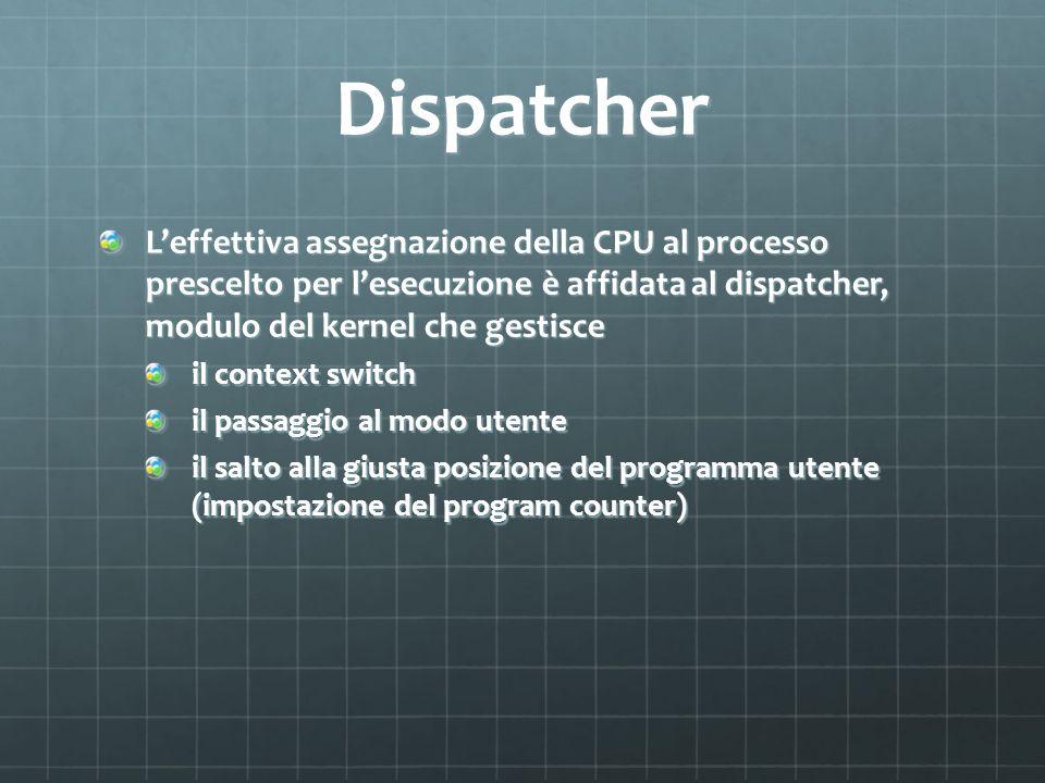 Dispatcher L'effettiva assegnazione della CPU al processo prescelto per l'esecuzione è affidata al dispatcher, modulo del kernel che gestisce.