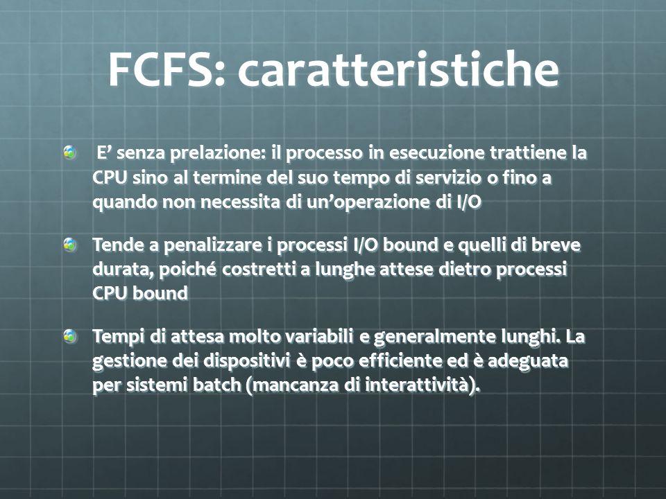FCFS: caratteristiche