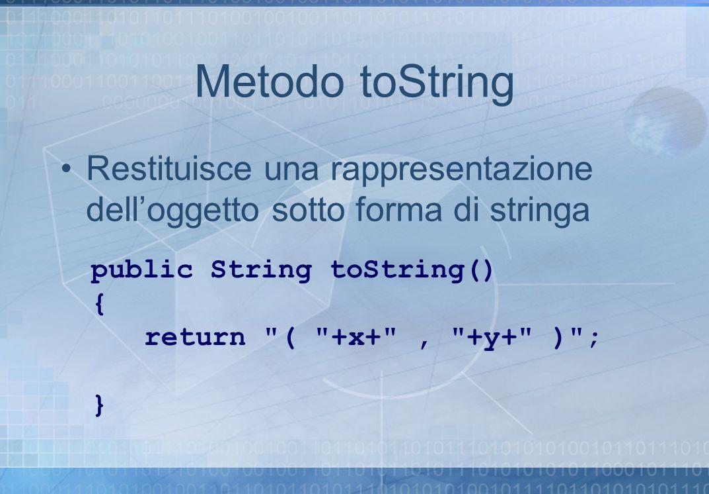 Metodo toString Restituisce una rappresentazione dell'oggetto sotto forma di stringa. public String toString()