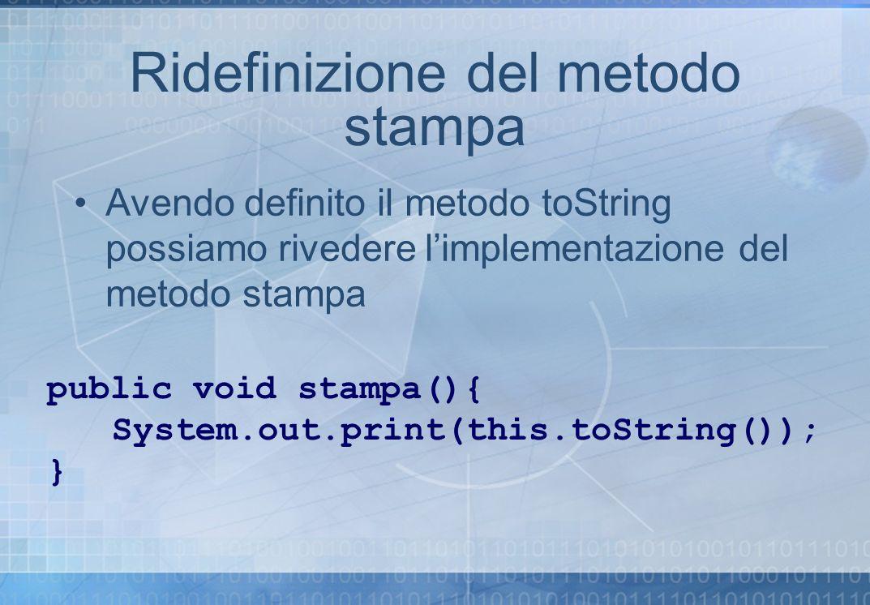Ridefinizione del metodo stampa