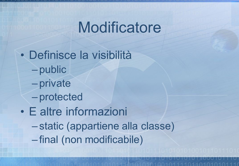 Modificatore Definisce la visibilità E altre informazioni public