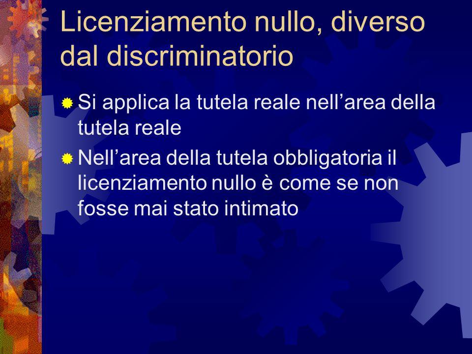 Licenziamento nullo, diverso dal discriminatorio