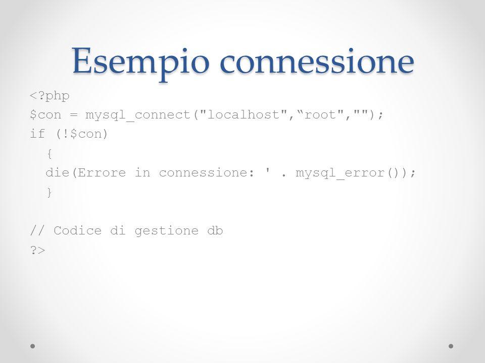 Esempio connessione < php
