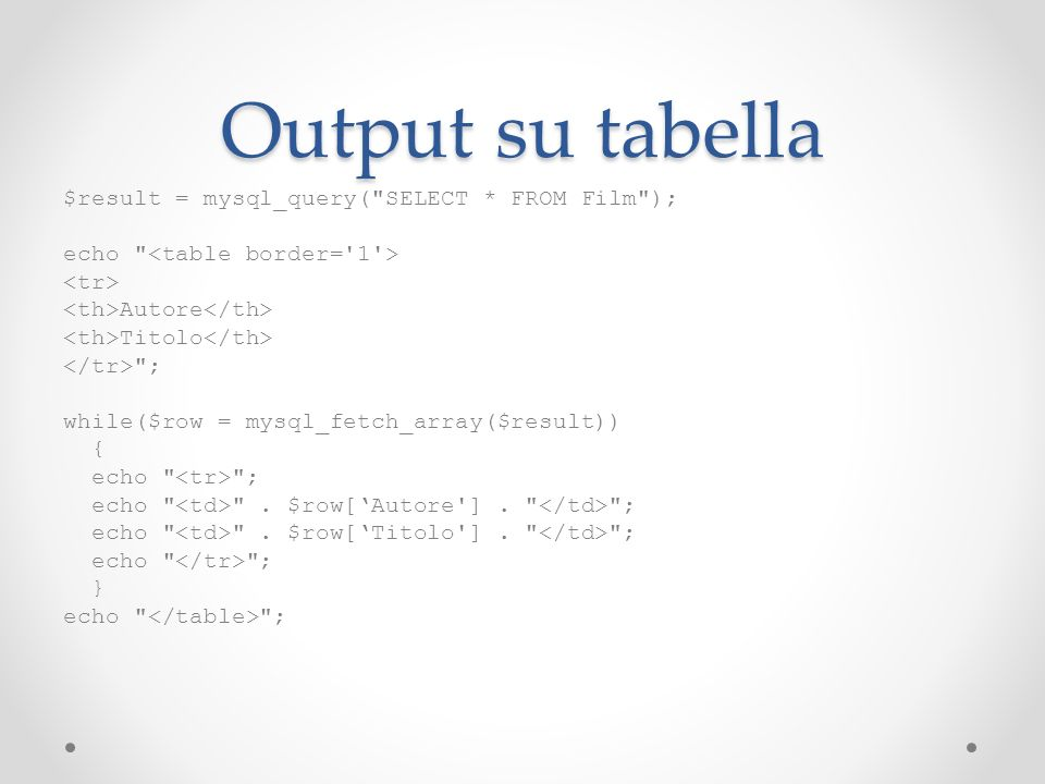 Output su tabella $result = mysql_query( SELECT * FROM Film );