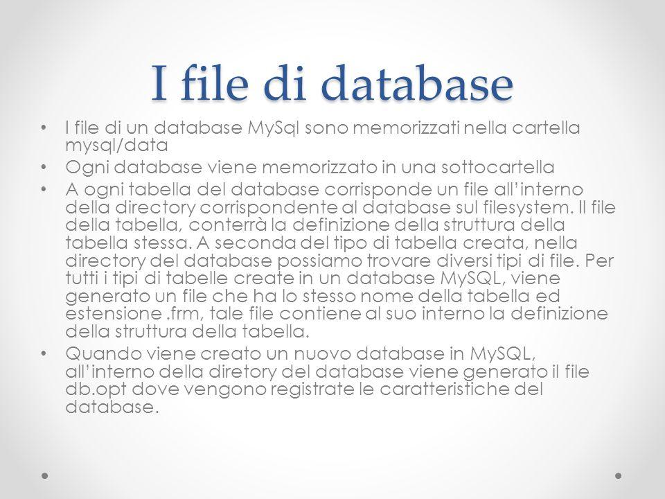 I file di database I file di un database MySql sono memorizzati nella cartella mysql/data. Ogni database viene memorizzato in una sottocartella.