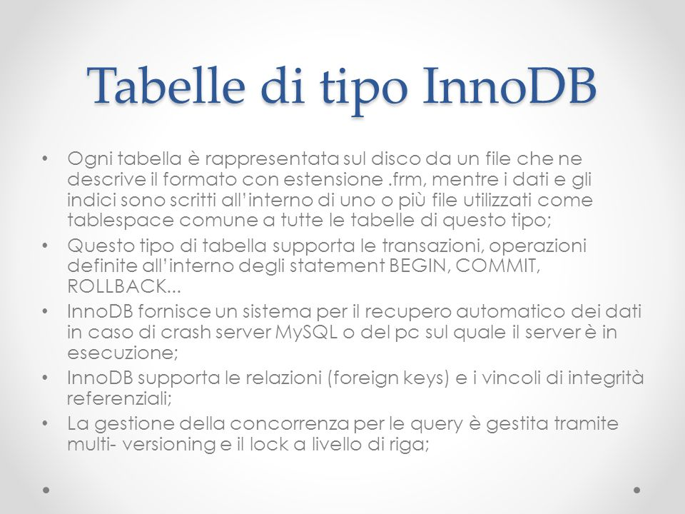 Tabelle di tipo InnoDB