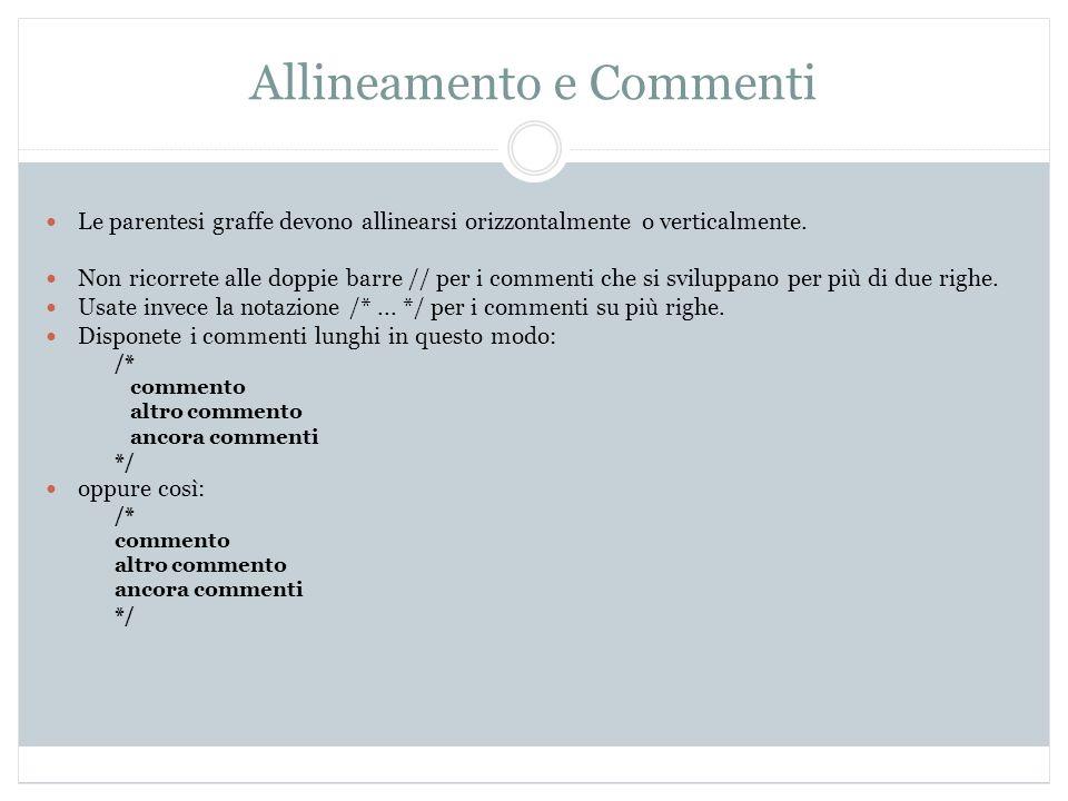 Allineamento e Commenti