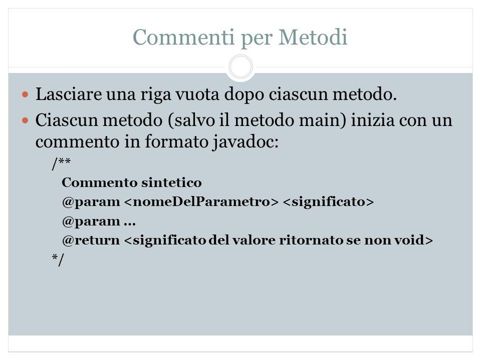 Commenti per Metodi Lasciare una riga vuota dopo ciascun metodo.