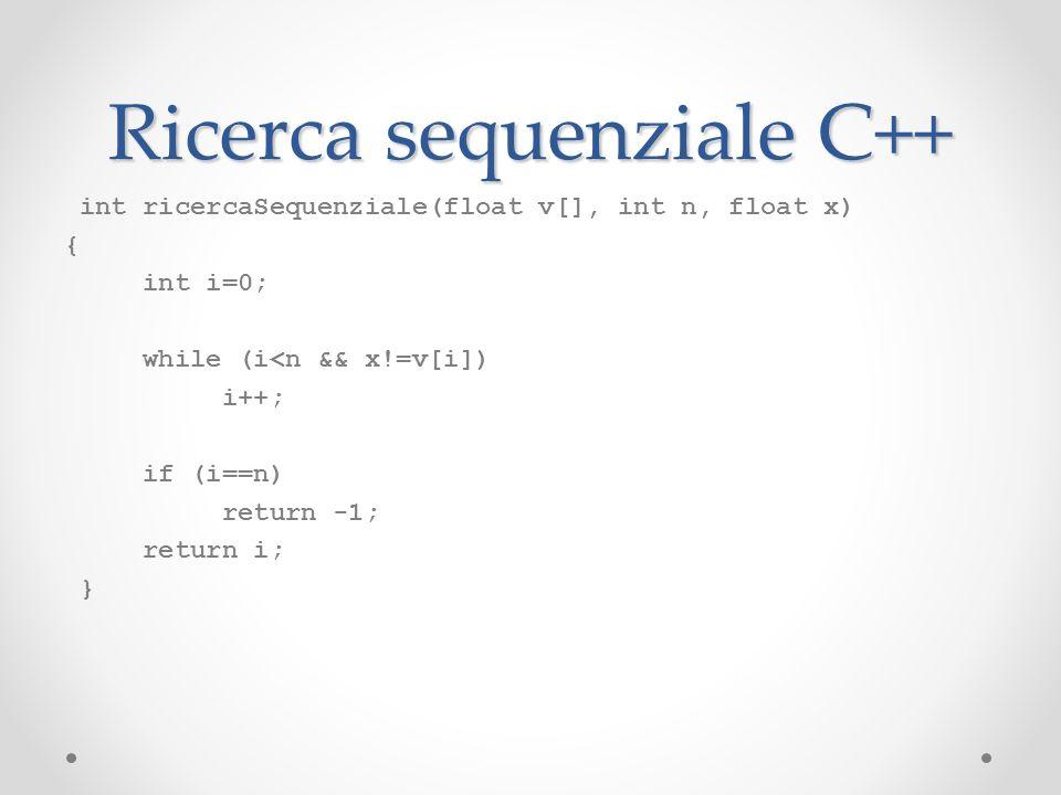 Ricerca sequenziale C++