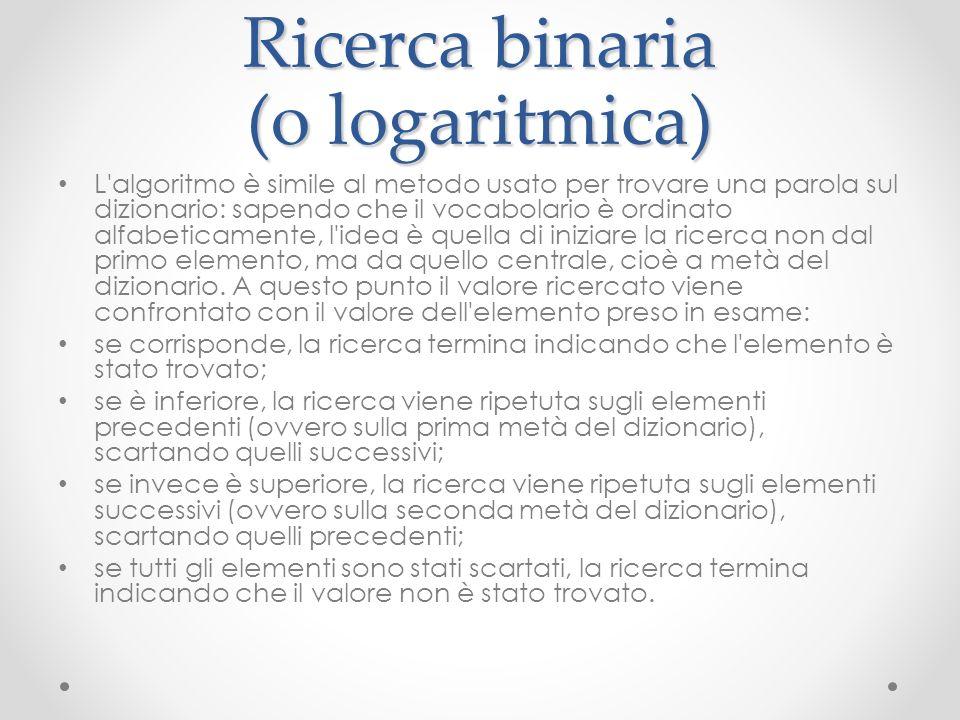 Ricerca binaria (o logaritmica)