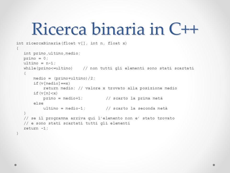 Ricerca binaria in C++