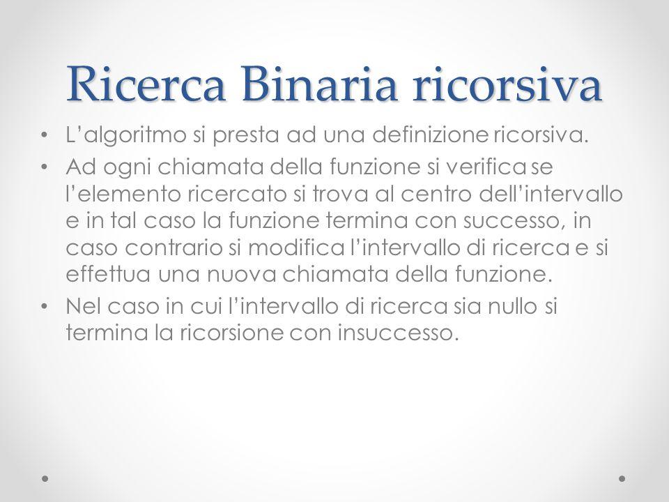 Ricerca Binaria ricorsiva