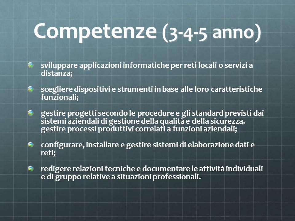 Competenze (3-4-5 anno) sviluppare applicazioni informatiche per reti locali o servizi a distanza;