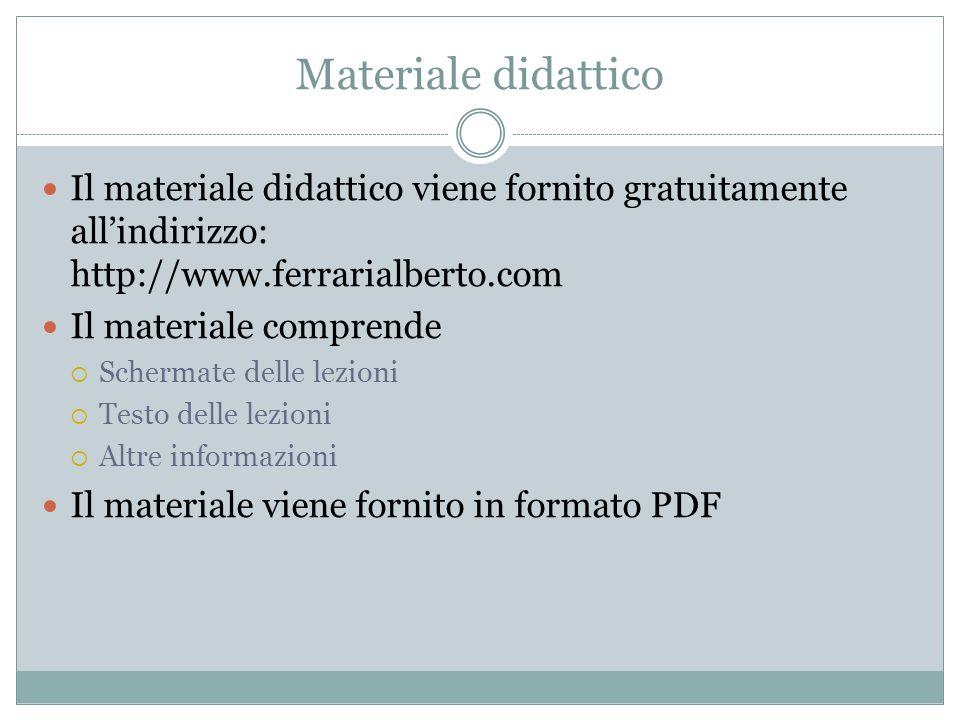 Materiale didattico Il materiale didattico viene fornito gratuitamente all'indirizzo: http://www.ferrarialberto.com.