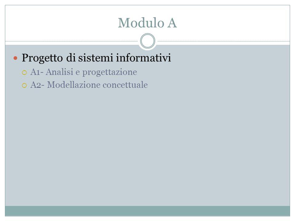 Modulo A Progetto di sistemi informativi A1- Analisi e progettazione
