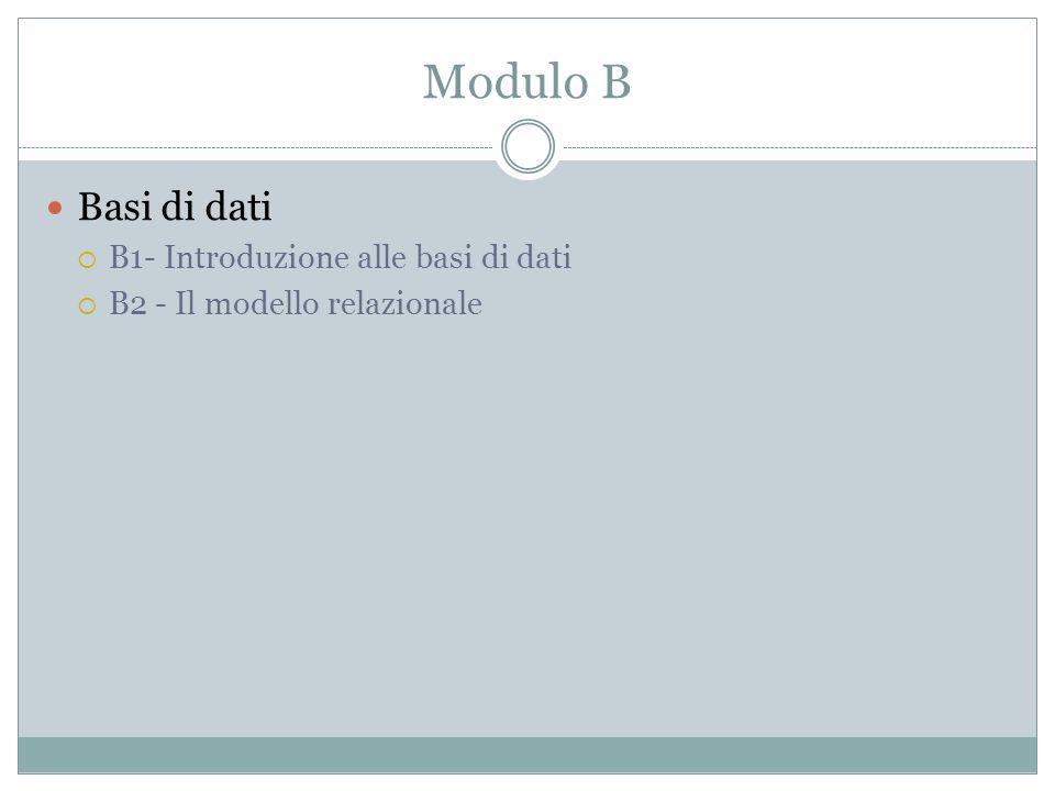 Modulo B Basi di dati B1- Introduzione alle basi di dati