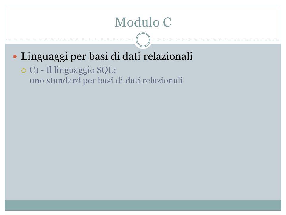 Modulo C Linguaggi per basi di dati relazionali