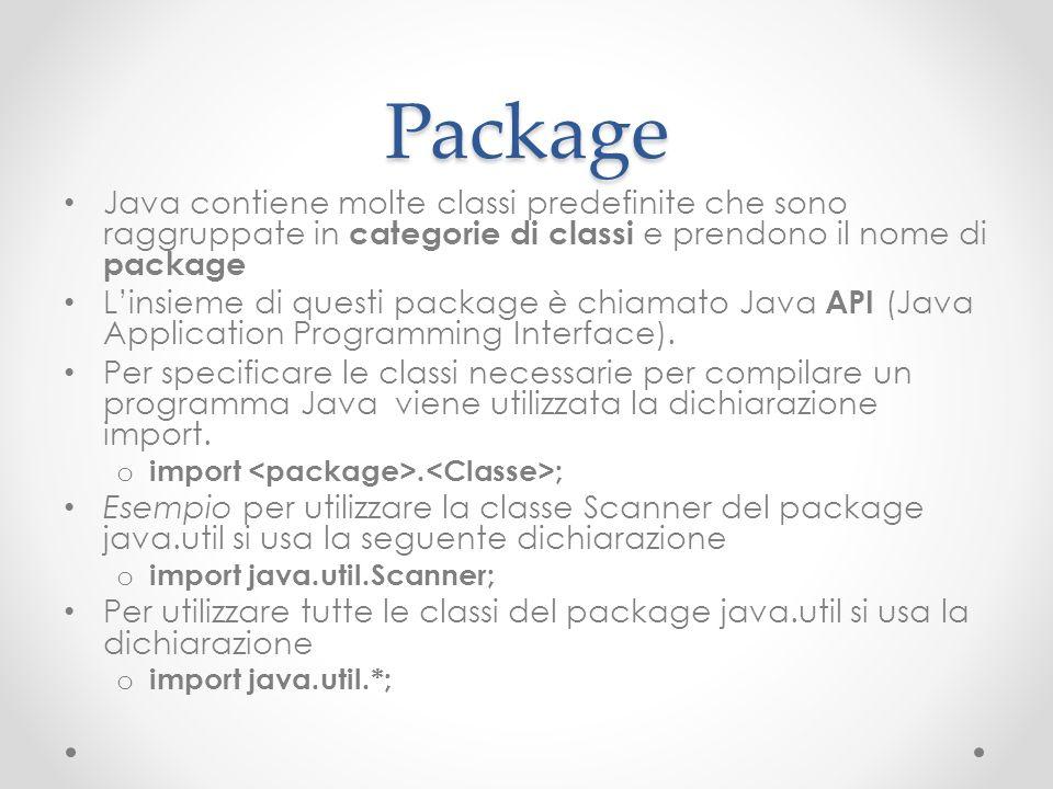 Package Java contiene molte classi predefinite che sono raggruppate in categorie di classi e prendono il nome di package.