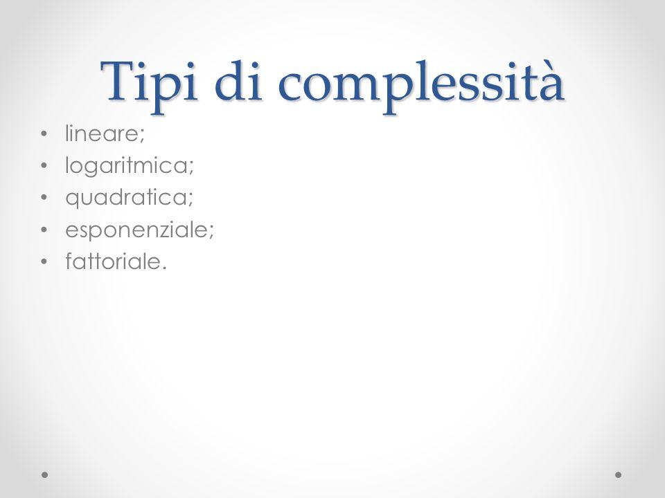Tipi di complessità lineare; logaritmica; quadratica; esponenziale;