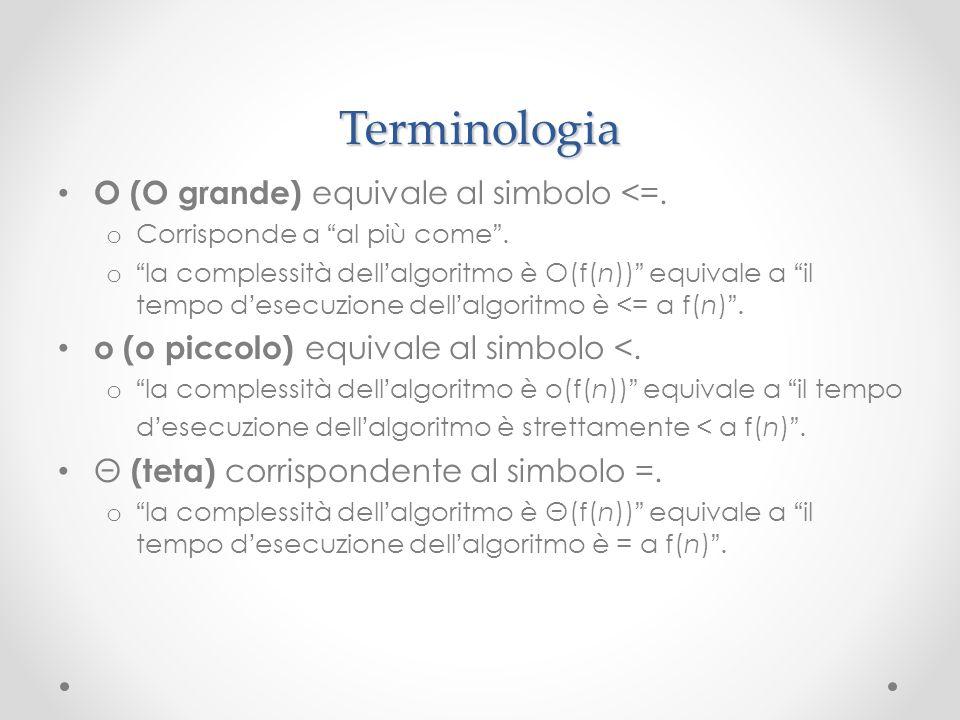Terminologia O (O grande) equivale al simbolo <=.