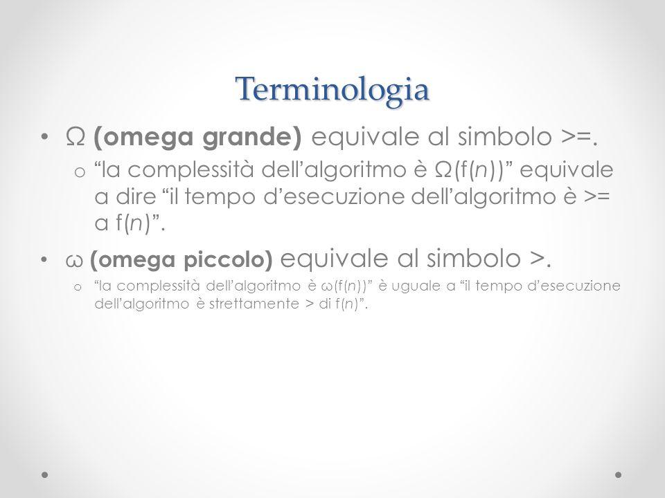 Terminologia Ω (omega grande) equivale al simbolo >=.