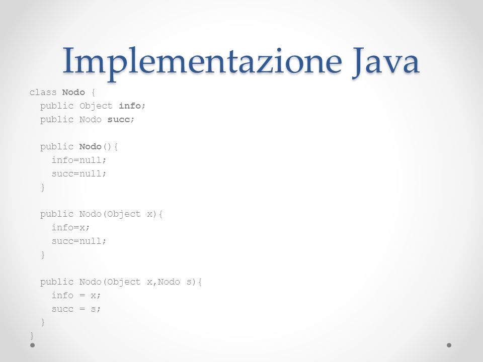 Implementazione Java